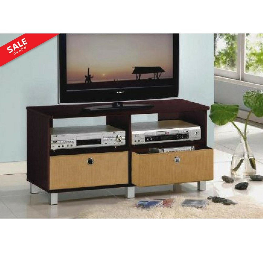 Tv Console Table with Storage Drawers 40'' Entertainment Center Multimedia Organizer Furniture TV Cabinet Sleek Contemporary Ample Storage Home Decor - Brown & eBook by BADA shop