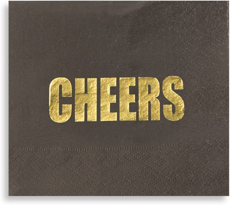 Cheers Party Supplies, Black Paper Napkins (5 x 5 In, Gold Foil, 100 Pack)