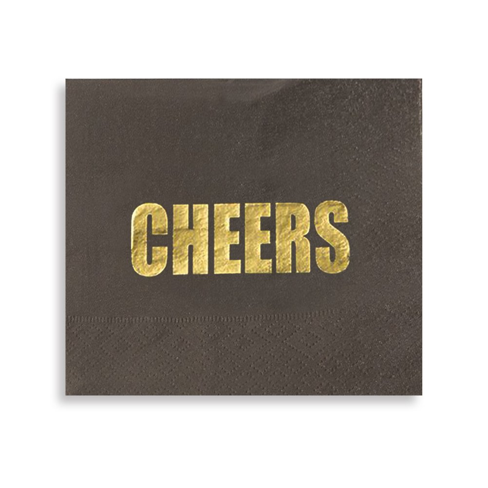Cocktail Napkins - 100-Pack Disposable Paper Napkins Party Supplies, Gold Cheers Designs, 3-Ply, Black, Folded 5 x 5 inches