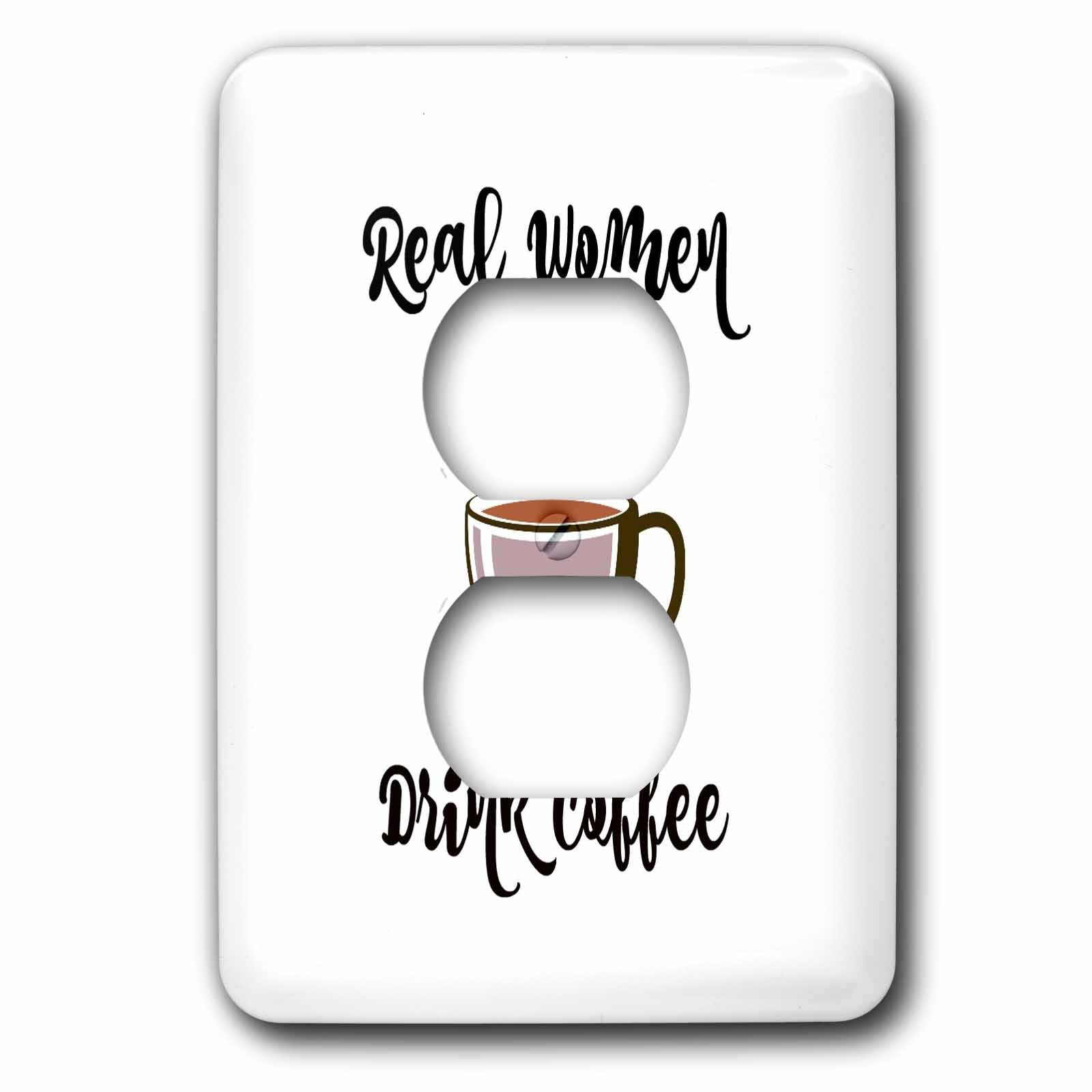 3dRose 3Drose Ally J- Funny Typography - Real Women Drink Coffee, Coffee Mug with Steam - Light Switch Covers - 2 plug outlet cover (lsp_286263_6)