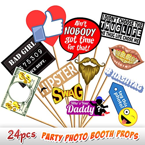 24pc Party Photo Booth Props, Novelty Dress Up Accessories, Decorations for Birthday Parties, Emoji Photo Booth Prop, Hipster Bow Tie, Social Media Like Button, Grillz Teeth, etc.]()