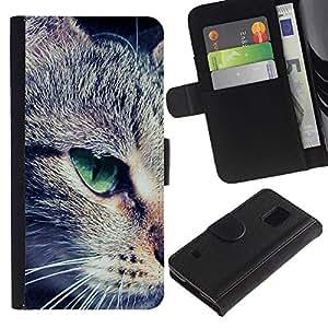All Phone Most Case / Oferta Especial Cáscara Funda de cuero Monedero Cubierta de proteccion Caso / Wallet Case for Samsung Galaxy S5 V SM-G900 // Green Eye Mongrel Shorthair Close Cat