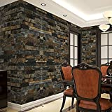 3D Effect Embossed Stack Removable Brick Wallpaper Stone Textured Print Non Stick Wallpaper for Home and Room Decoration (US Stock) (Blue)
