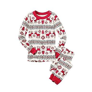 ddd4709b2 SW-Ning Family Matching Christmas Pyjamas Set Reindeer Printing ...