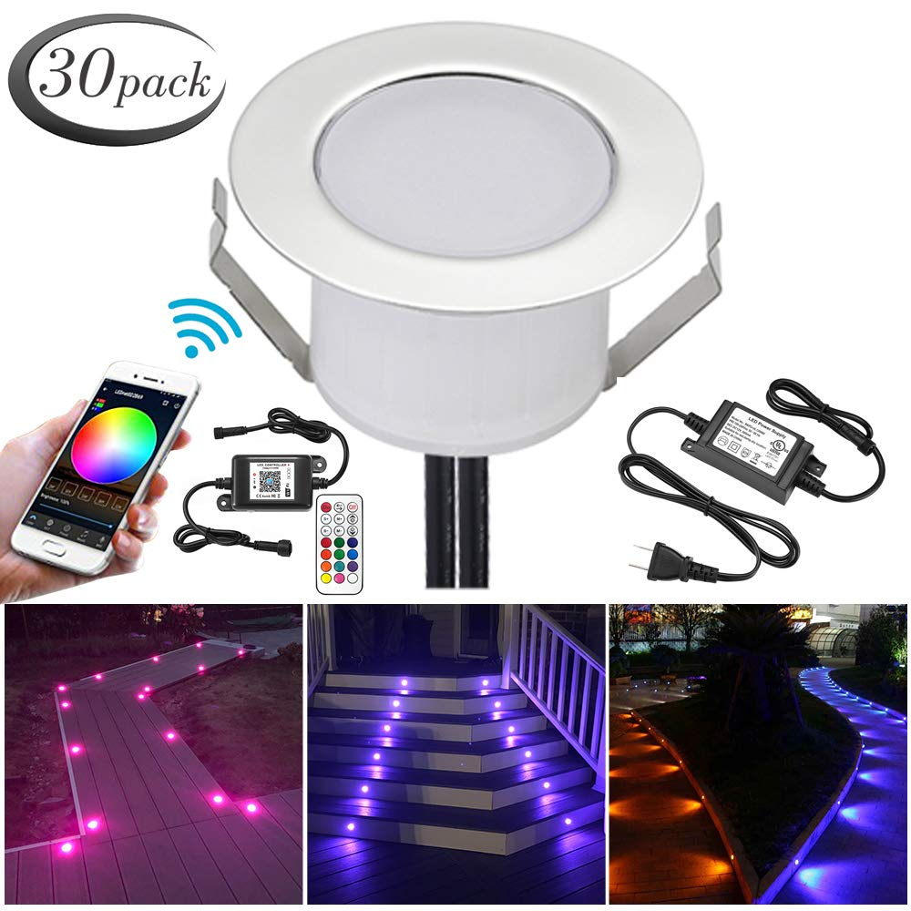 WiFi RGB Deck Lights, FVTLED 30pcs Φ1.85'' WiFi Controller Low Voltage LED Deck Lights Kit Work with Alexa Google Home WiFi Wireless Smart Phone LED Step RGB Lights