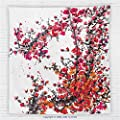 59 x 59 Inches Traditional House Decor Fleece Throw Blanket Japanese Cherry Blossoms in Watercolor Brush Style Vibrant Artwork Blanket Red Orange