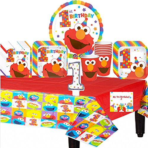 Elmos 1st Birthday Deluxe Party Pack Bundle (Elmo Girl Party Supplies)