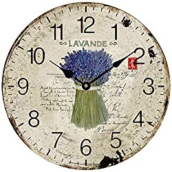 Wooden 12 Wall Clock Atomic Retro American Print A Bunch of Lavender Roman Number Quite Silent Non-Ticking Hand Room Decorative Wall Kids Room