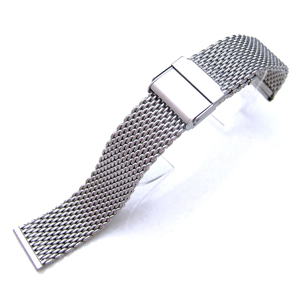 18mm Brushed Stainless Steel Wire Mesh Band Double Flip Interlock Clasp