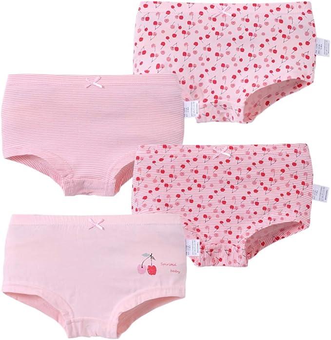 Happy Cherry 4-Pack Toddler Girls Boyshort Underwear Cotton Boxer Briefs Assorted