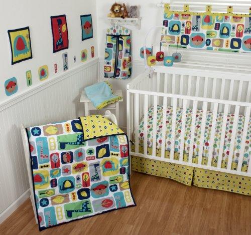 Sumersault 10 Piece Crib Bedding Set, Zoo Squares