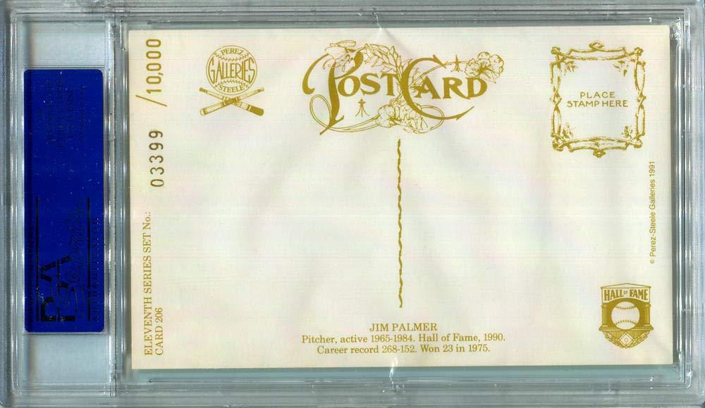 1991 Jim Palmer Signed Perez Steele Postcard #206. PSA Authentic