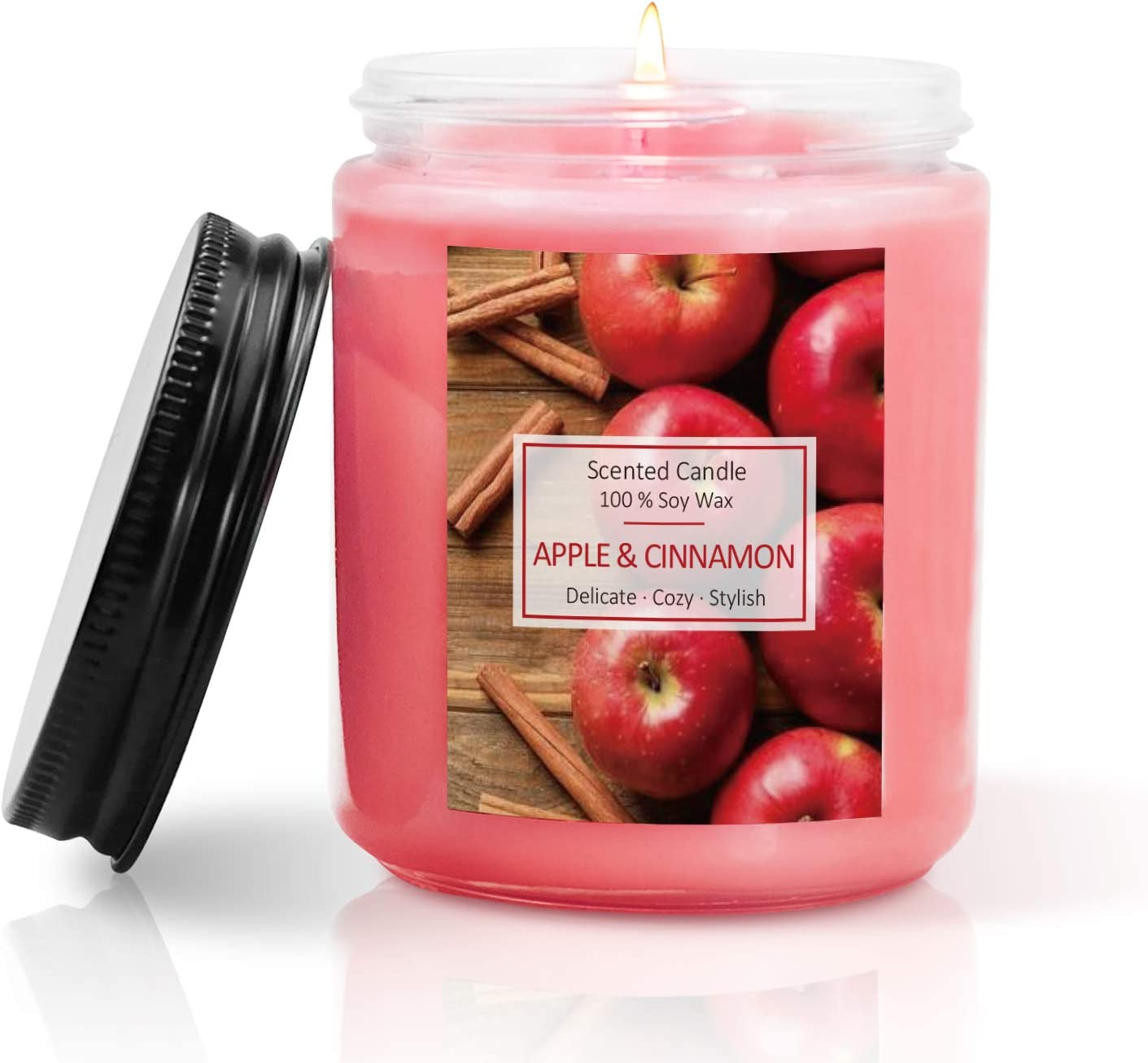 SCENTORINI Scented Candles, Soy Wax Candles, Aromatherapy Candles, Apple Cinnamon Candle Gift for Halloween Christmas