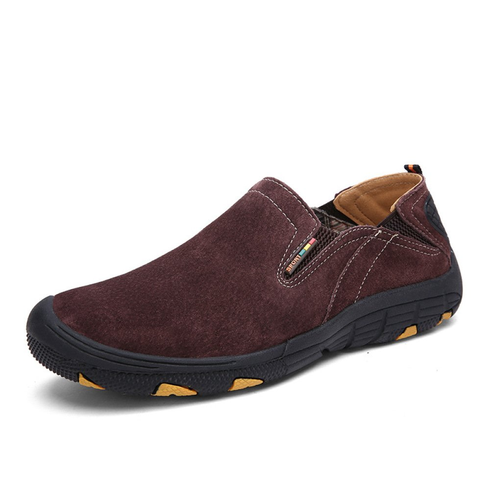 YXLONG Otoño Zapatos Casuales De Negocios Nuevos Zapatos De Senderismo De Cuero De Los Hombres Zapatos De Guisantes De Cuero De Cuero,Bba2597red-43 43|bba2597red
