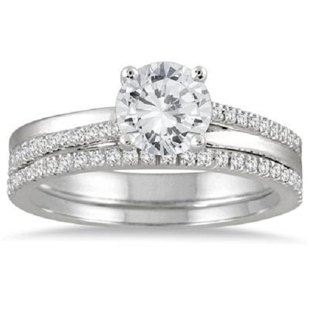 Smjewels 1.25 Carat Diamond Engagement Wedding Ring Bridal Set 925 Silver 14k White Gold