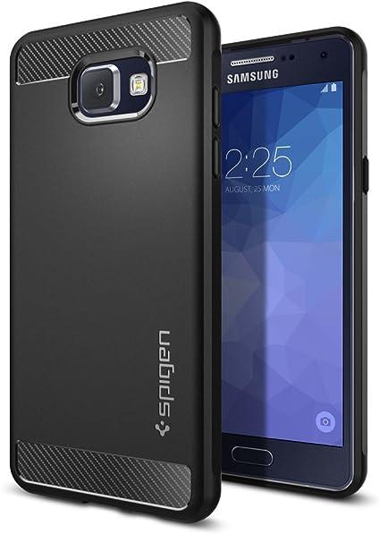 Spigen, Funda Compatible con Samsung Galaxy A5 2017 [Rugged Armor] Absorción de Choque Resistente y diseño de Fibra de Carbono [Compatible con Carga Inalámbrica] - [Negro Mate]: Amazon.es: Electrónica