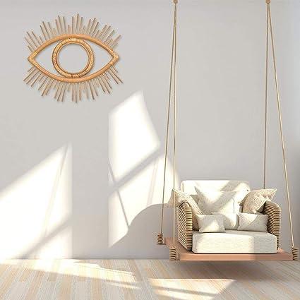 Miroir boh/ème Vintage Style marocain Vintage en Osier avec Effet Soleil en Bambou Miroir Mural Suspendu WXGY Rattan Crafts