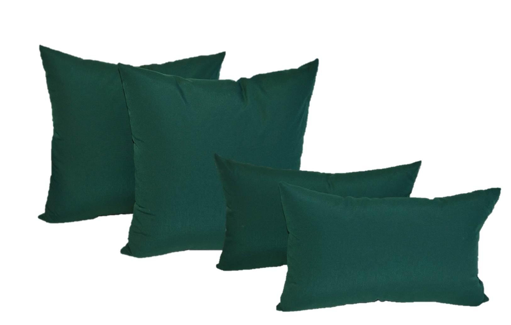Set of 4 Indoor / Outdoor Pillows - 2 Square Pillows & 2 Rectangle / Lumbar Decorative Throw Pillows - Solid Hunter / Forest Green - Choose Size (17'' x 17'' square & 11'' x 19'' lumbar)