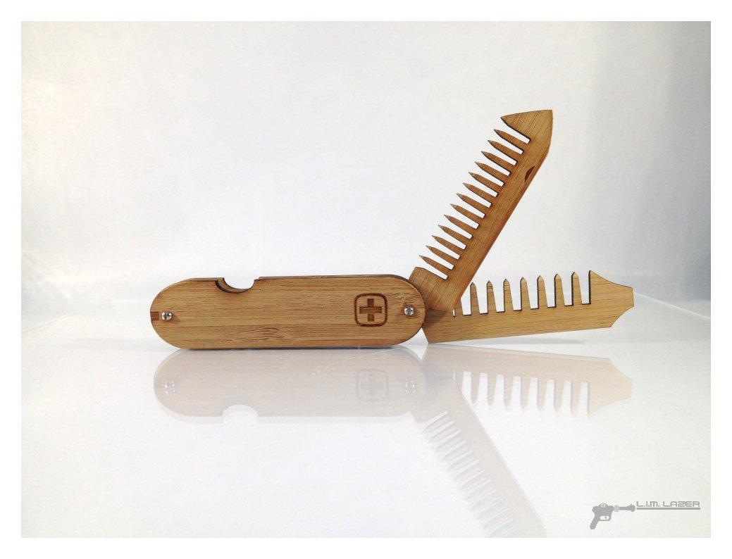 Bamboo Folding Beard and mustache Comb, Swiss Army Style