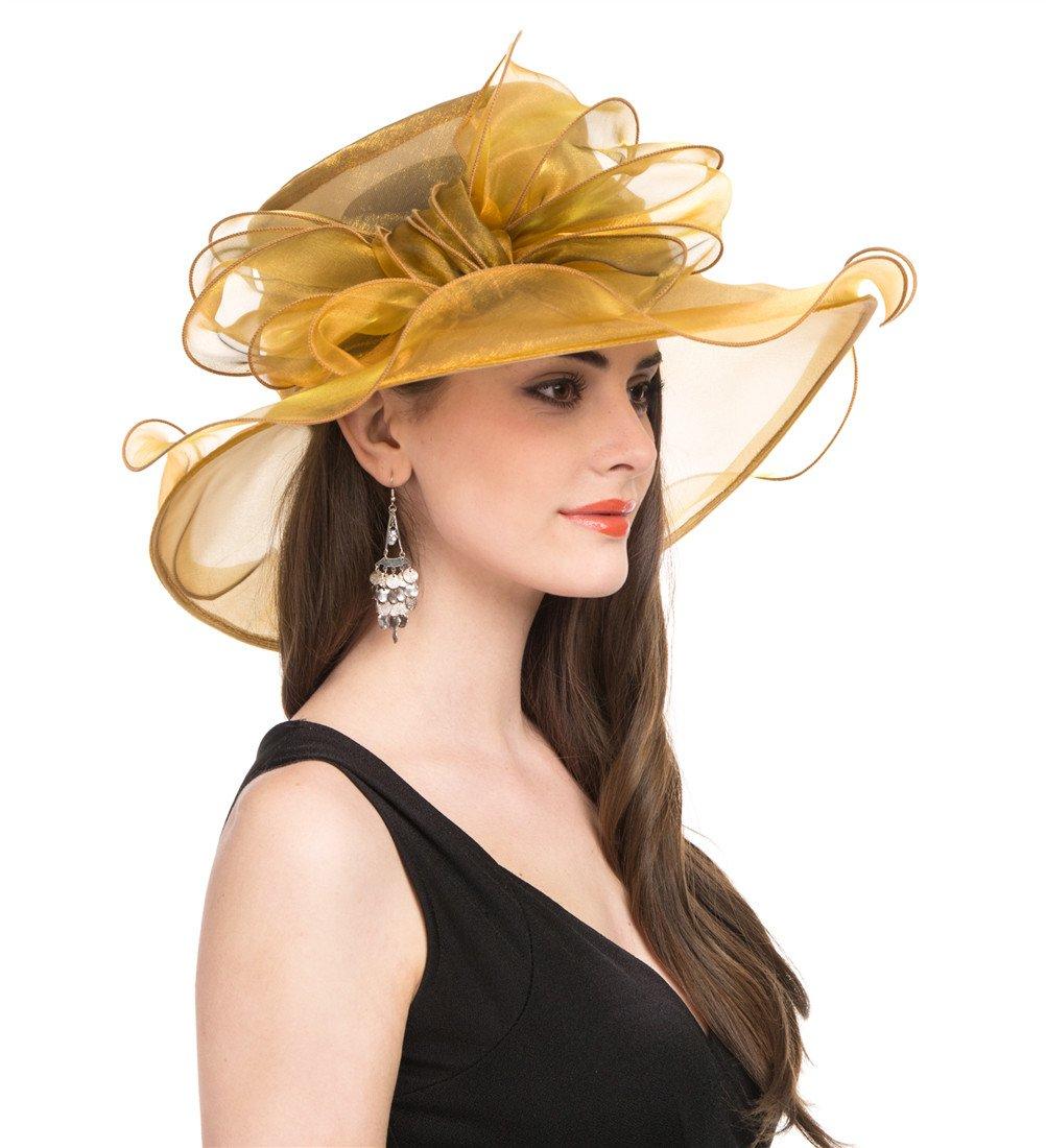SAFERIN Women Wedding Dress Kentucky Derby Church Dress Organza Hat Wide Brim Flat Hat with Ruffled Bow Gold by SAFERIN (Image #2)