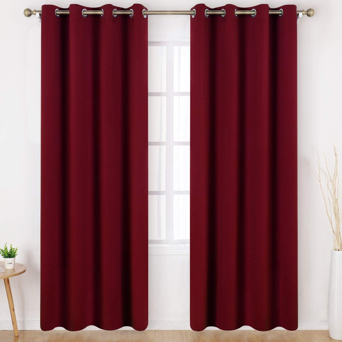 HOMEIDEAS Blackout Curtains Wide 52 X 95 inches Long Set of 2 Panels Burgundy Red Room Darkening Curtains/Drapes, Thermal Insulated Grommet Window Curtains for Bedroom & Living Room