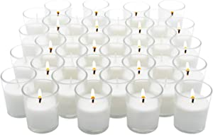 Royal Imports 36 Pack Votive Candles Unscented Clear Glass. Hand Poured Wax Filled Candle Ideal for Gifts Aromatherapy Spa Wedding Birthday Holiday Restaurant Party