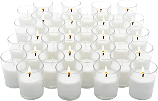 50 Glass Square Designer Wedding Table Centrepiece Decoration White Wax Candle