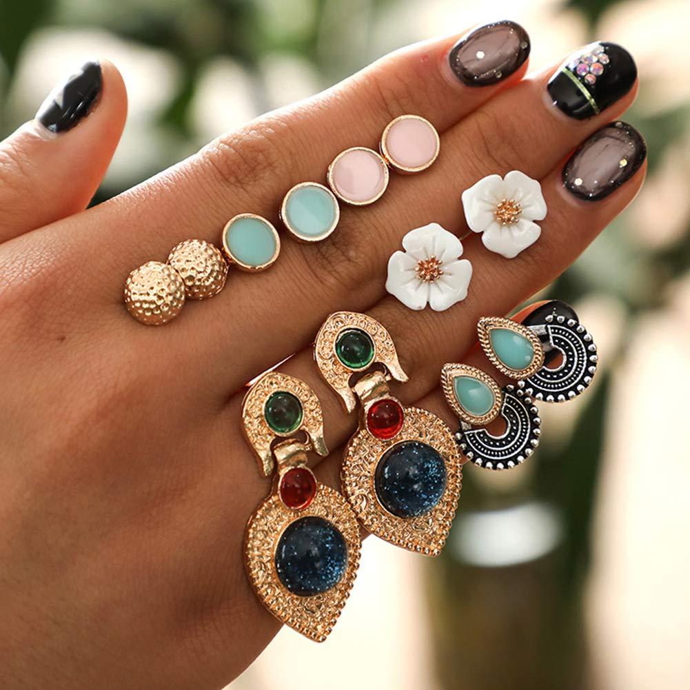 Everrikle Earrings,6Pairs/Set Women Faux Turquoise Round U-Shape Flower Ear Stud Earring Jewelry
