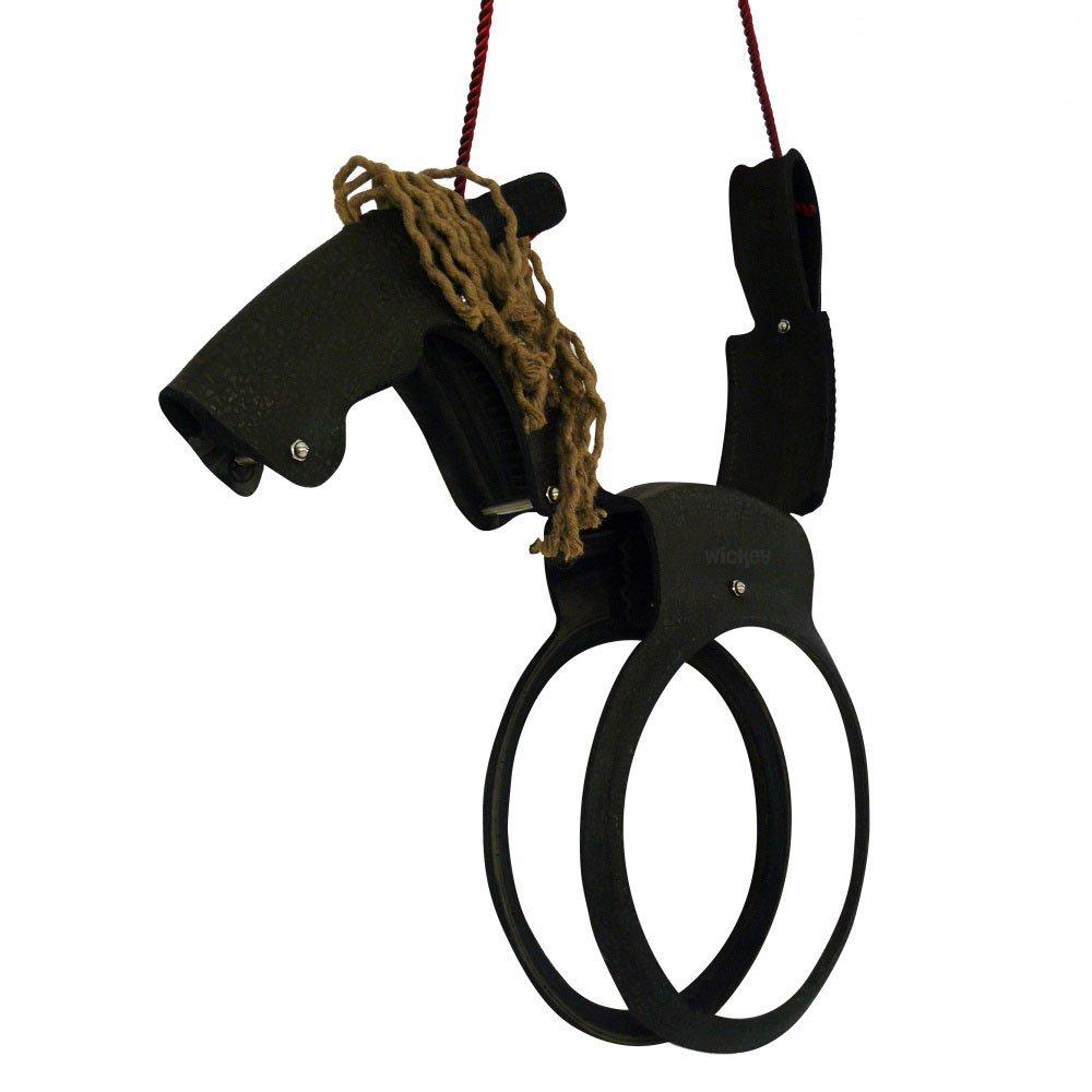 WICKEY Pferdeschaukel Kinderschaukel Pferd Schaukelsitz Schaukelreifen, schwarz