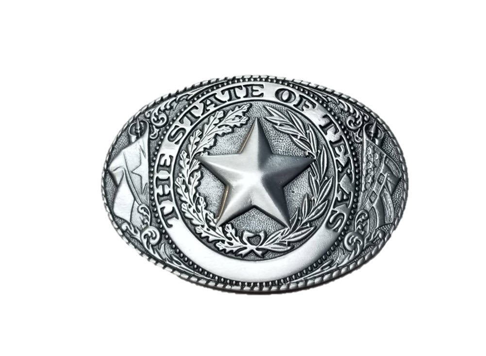 Blue Bayou Brass 3.5'' Pewter Texas State Seal Belt Buckle