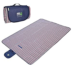 Large Waterproof Outdoor Blanket by MIUCOLOR, Sandproof Picnic Blanket for Camping Hiking Grass Travelling - Single-deck Streak -Dual layers