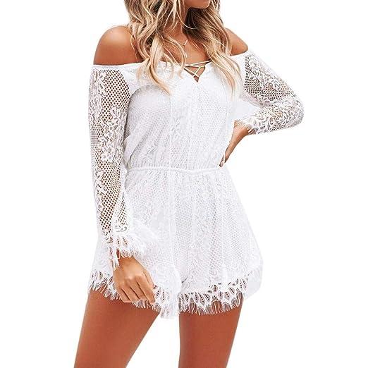 ffb576ef45 Amazon.com  Keepfit Cold Shoulder Crochet Lace Jumpsuit