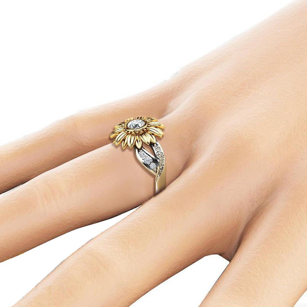 Gold #13 Engagement Rings Sunflower Ring for Women Girls,Starwak Eternity Floral Diamond Band Rings Statement Rings for Wife Girlfriend Valentine Wedding Jewel Gift Marriage Rings