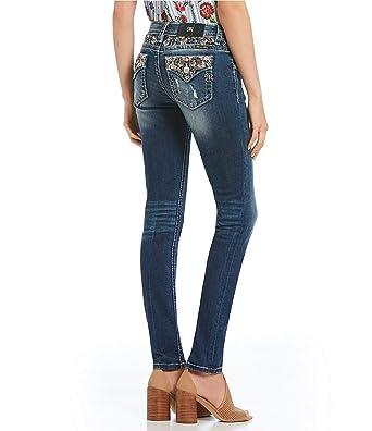 Amazon.com  Miss Me Women s Chevron Embellished Yoke and Back Pocket Skinny  Jeans  Clothing 8b4ced524