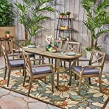 Great Deal Furniture Byrd Outdoor 7 Piece Acacia Wood Dining Set