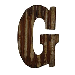 "Farmhouse Rustic 12"" Wall Decor Corrugated Metal Letter -G"