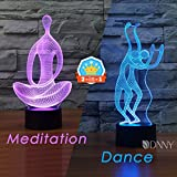 Meditation & Dancer 2-in-1 3D Table Lamp Illusion LED Night Lamp LED Optical Illusion Visualization LED Lights 7 Colors Multicolored USB POWER and battery for Living Bed Room Best Gifts for Girls