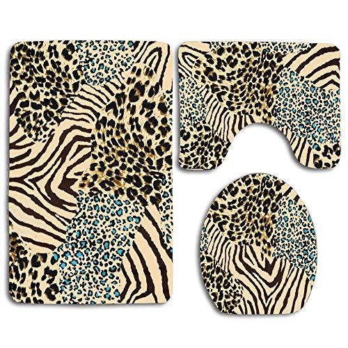 - huachuangxinlHUQ Animal of Tiger Prints and Zebra for Mix Leopard Color Abstract Africa Cat Chic 3 Piece Bathroom Rug Set Non-Slip Bath Mat Contour Rug Toilet Lid Cover Home Decorative Doormat