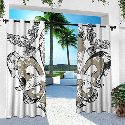 (Hengshu Fleur De Lis, Outdoor Privacy Curtain for Pergola,Eagles on Fleur De Lis Emblem Power Symbol Victorian Creative Illustration, W96 x L108 Inch, Tan White)