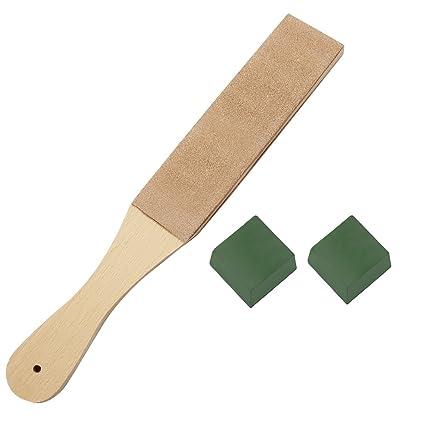 hysagtek 3 piezas DIY Kit de afilado de cuero – 1 pc mango de madera correa de piel correa de piel doble cara Paddle con 2 pcs compuestos de 1,06 oz ...