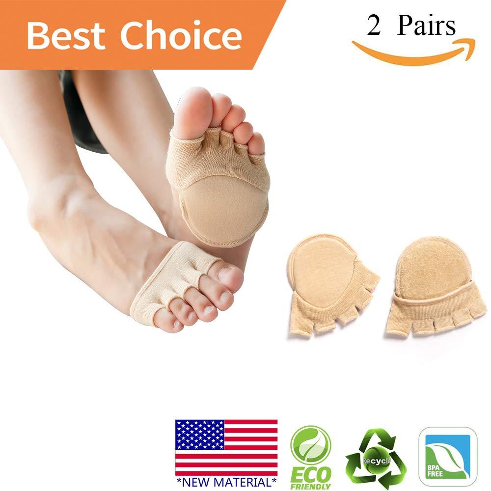 Toe Socks, Cotton Non-Slip Women's Toe Toppers Socks Toe Separating Socks No-Show Half Socks Barre Pilates Yoga Half Palm Socks(2 Pairs)