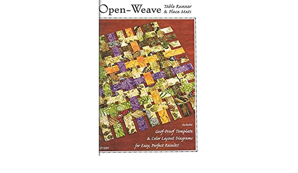 amazon com: open-weave tablerunner and placemat pattern by tiger lily  press: arts, crafts & sewing