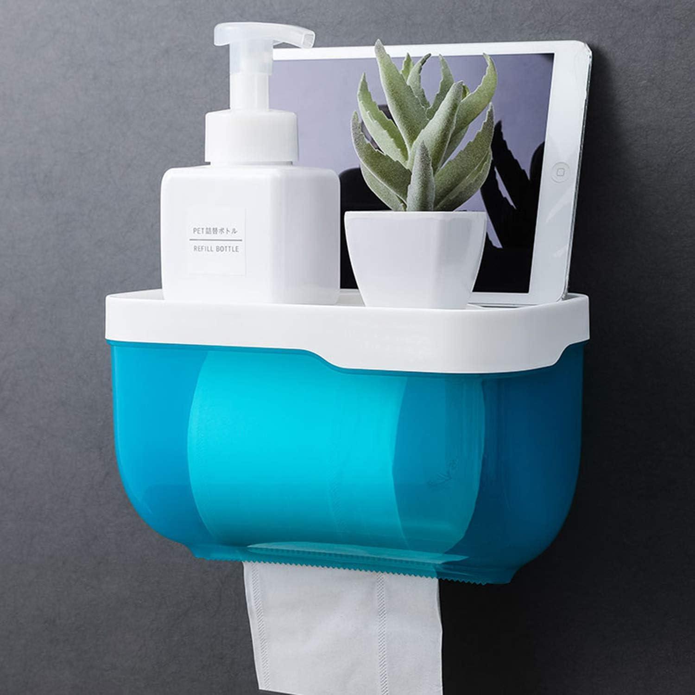 Wall Mounted Waterproof//Paper Holder Bathroom Paper Roll Holder//Toilet Paper Dispenser Cat Proof Wall Mounted No Drilling Waterproof Toilet Paper Holder Cover Bathroom Tissue Roll Holder Blue
