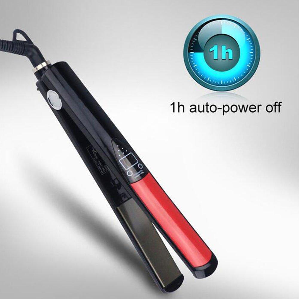 YKS Professional Hair Straightener, Flat Iron with MCH Heating, Titanium Ceramic Heater, Adjustable Temperature 180 F to 470 F, Dual Voltage, Digital LCD Display, 1 Hour Auto Shutoff