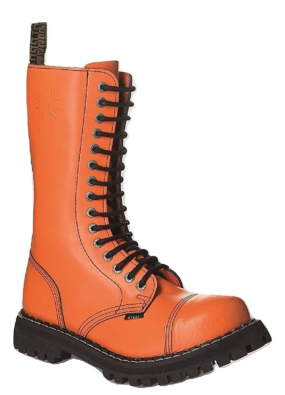 Steel Kampfstiefel Militärstiefel Unisex Herren Damen Glattleder Orange Verwaschene Schwarz 15 Ösen Army Punk Stahlkappe