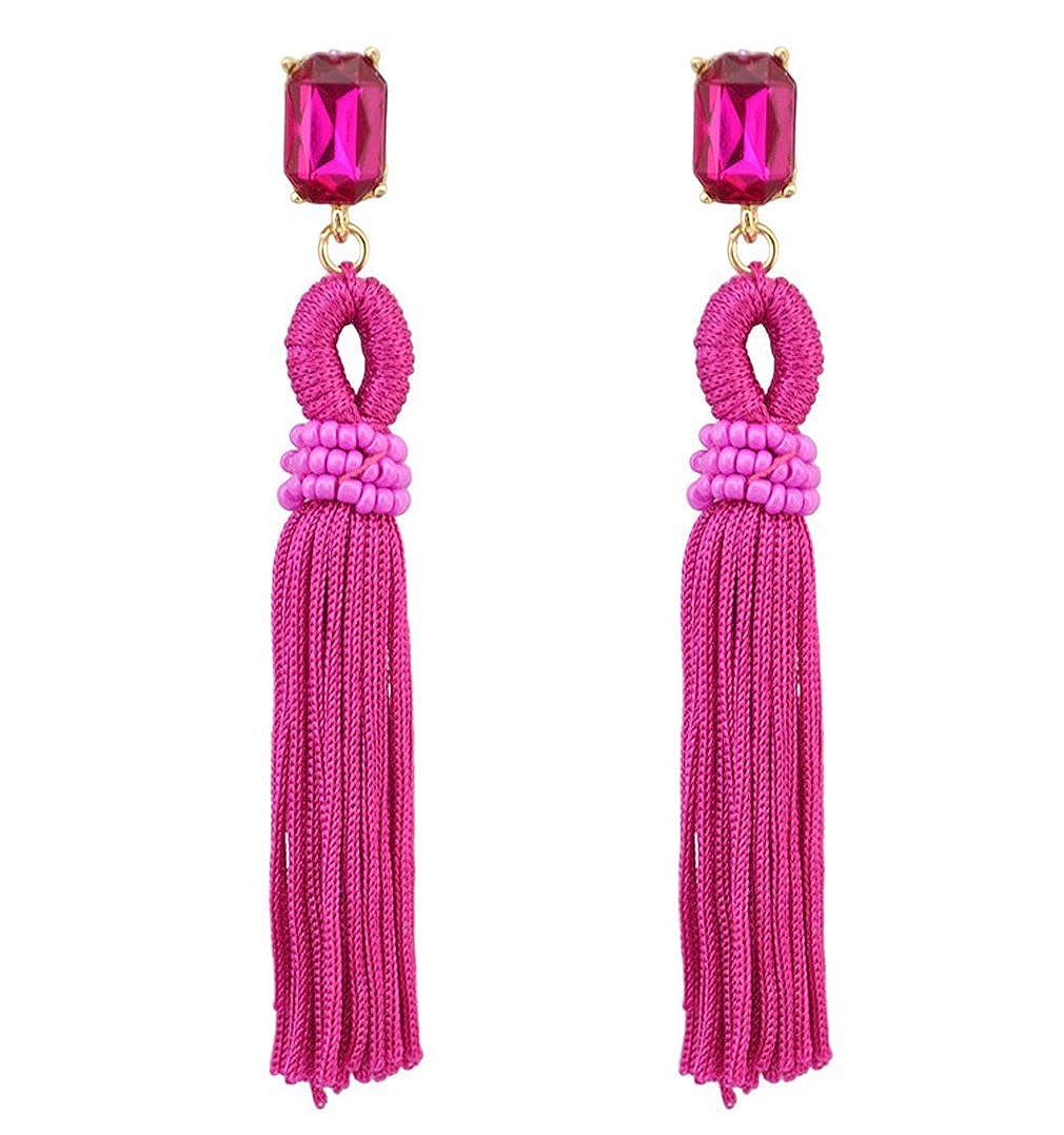 Jinxian Tassels Drop Earrings Vintage Dangling Gold Plated Studs