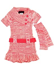 Dollhouse Little Girls Ruffled Belted Cardigan Sweater Dress with Arm Warmers, Coral, 2T