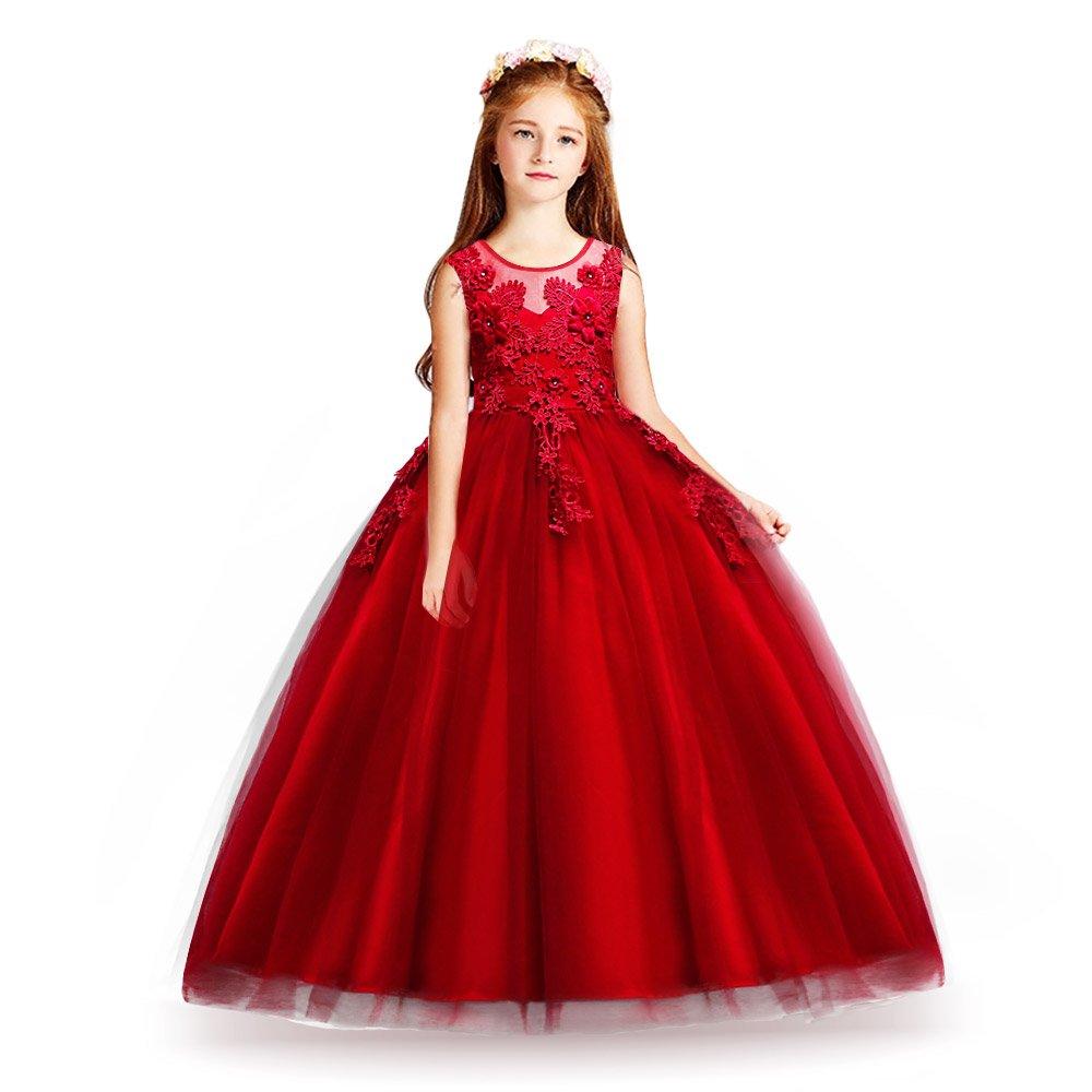 4b734a72b078a HUAANIUE Cérémonie Robe de Soirée Princesse Classique Fille Mariage Robes  Demoiselle d'Honneur Taille Motif de Broderie Fleur 4-14 Ans