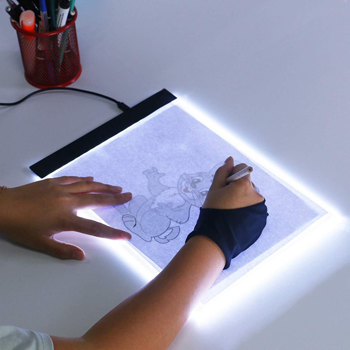 Evilandat Cuaderno de luz de rastreo Blanco A4, LED, 3 Niveles de Brillo, Ajustable, para Pintura, Tatuaje, animaci/ón