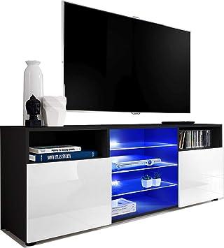 ExtremeFurniture T38 Mueble para TV, Carcasa en Negro Mate/Frente en Blanco Alto Brillo + LED Blanco: Amazon.es: Electrónica